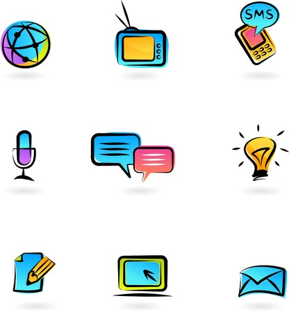 Collection of colorful  communication icons Illustration