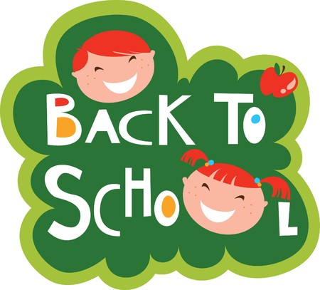 Back to school illustration with happy kids Stock Vector - 7143362