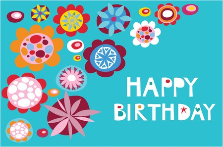 Colorful decorative  floral background for birthday card Stock Vector - 7143375