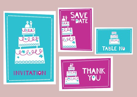 Collection of wedding invitations and cards Vector