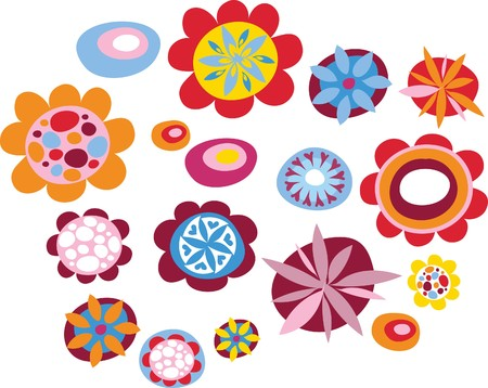 Colorful decorative flowers Stock Vector - 7143373