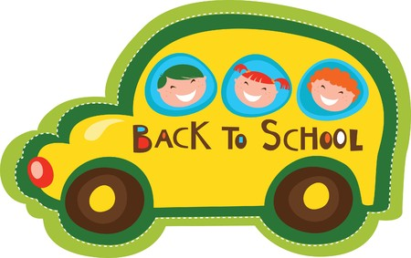 Back to school yellow bus Vector