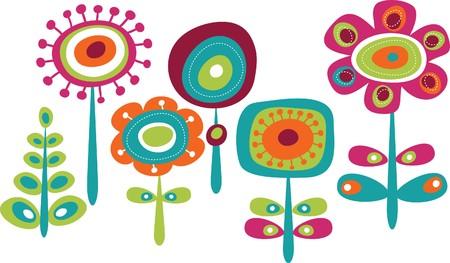 Cute colorful flowers, childish illustration