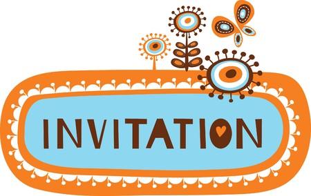 uitnodigen: cute uitnodiging sjabloon met kinderlijke doodles  Stock Illustratie