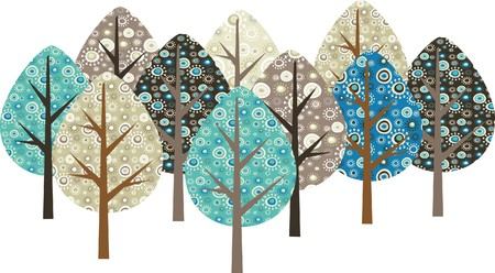 illustratin: Decorative trees with grunge patterns