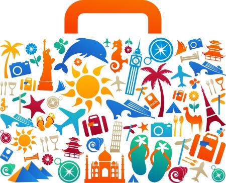 logotipo turismo: Maleta con muchos iconos coloridos de turismo y vacaciones y logotipos de viaje