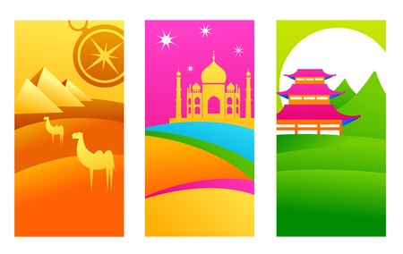 taj: Three tourist backgrounds with exotic travel destinations Illustration