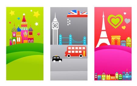 kremlin: Drie toeristische achtergronden met Europese bestemmingen  Stock Illustratie