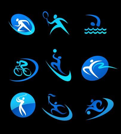 swim race: Iconos de deporte azul sobre fondo negro Vectores