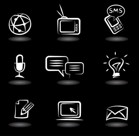 mail man: Colecci�n de iconos de comunicaci�n sobre fondo negro