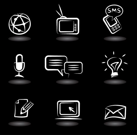 a communication: Collection of  communication icons on black background