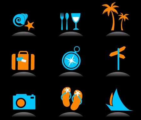 Collection of colourful tourism and vacation icons and logos - 3 Vector