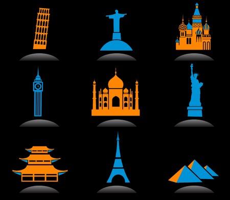 Icon set with famous international historical landmark monuments, black background Vector
