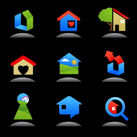 building real estate modern: Collection of glossy real estate  icons  logos Illustration
