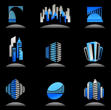 building real estate modern: Collection of blue real estate and construction icons  logos Illustration