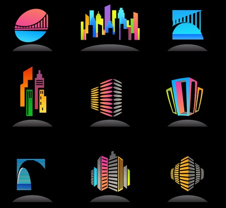architecture logo: Collection of abstract real estate and construction icons  logos Illustration