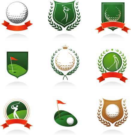golf drapeau: Collection d'?tiquettes de golf, des badges et des ic?nes Illustration