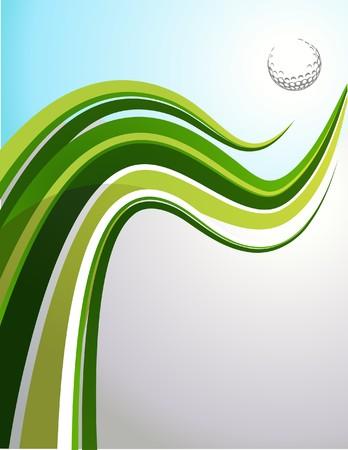 Golf achtergrond met groene golf en een bal  Vector Illustratie