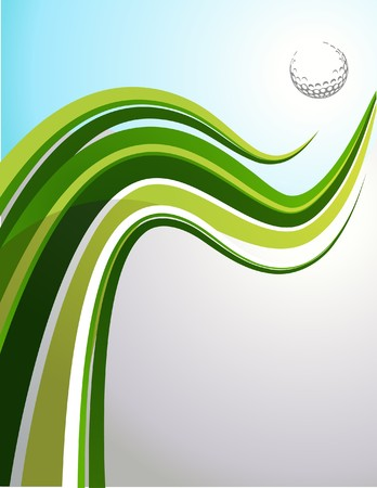 Golf background with green wave and a ball Vector