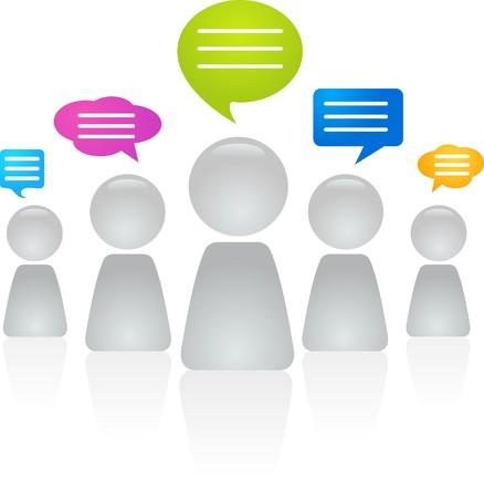 conversations: Figure astratte con bolle di discorso  Vettoriali