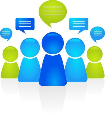 business discussion: Cifras de personas de negocios abstracta con burbujas de discurso
