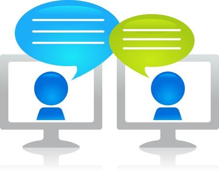 business discussion: Gente chateando a trav�s de internet