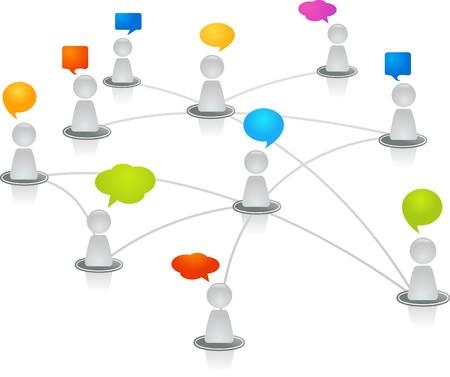 figuras humanas: Las figuras humanas abstractas conectan en una red