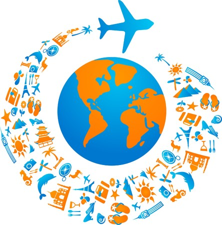 Plane with tourism icons trail flying around the world  Vector