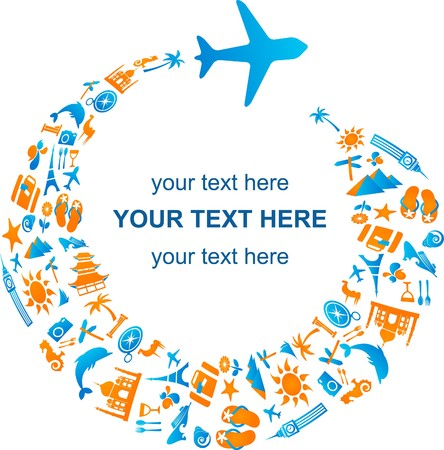 airplane travel: Travel template with airplane trail made from many icons Illustration