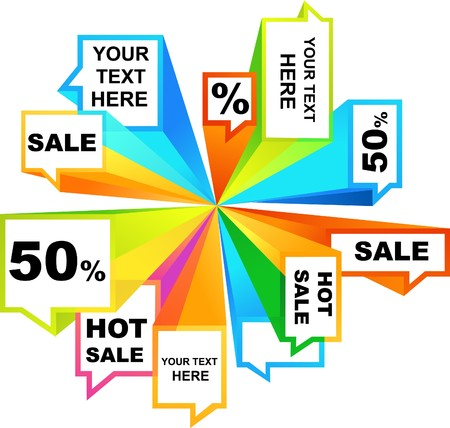 Collection of colorful sale tags and callouts Vector
