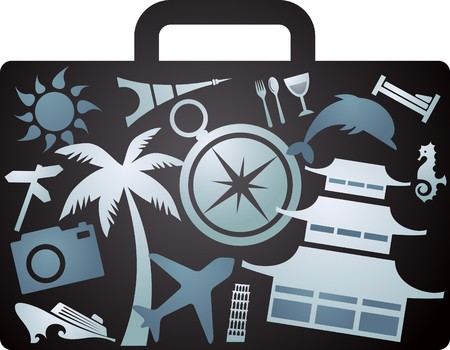 airport security: X-rayed suitcase with tourism icons