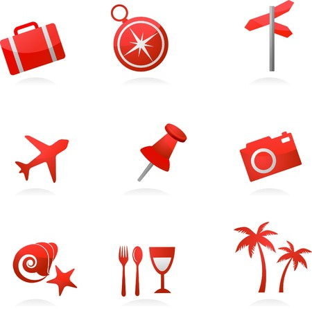 Collection of red tourism and vacation icons Vector