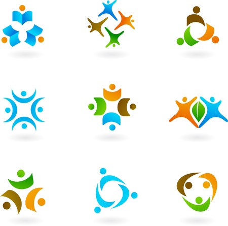 Collection of human icons and logos  Vector