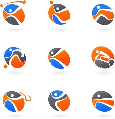 swim race: Iconos de deporte de Abstract  antecedentes  logotipos  Vectores