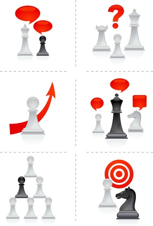Six business concepts illustration with chess figures Vector