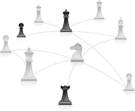 Chess cijfers verbonden in een net werk  Vector Illustratie