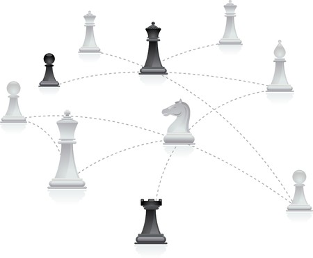 global strategy: Chess figures connected in a network
