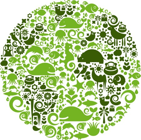 Green globe outline made from birds, animals and flowers icons Stock Vector - 7306499