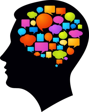 brain and thinking: Black profile with many colorful thought bubbles