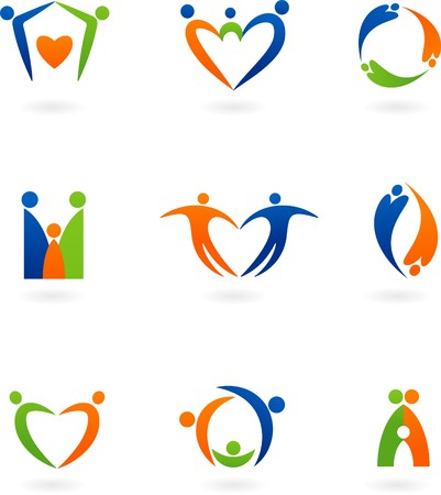 Collections of abstract family icons