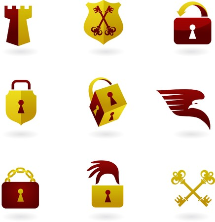 Collection of security icons and logos Vector