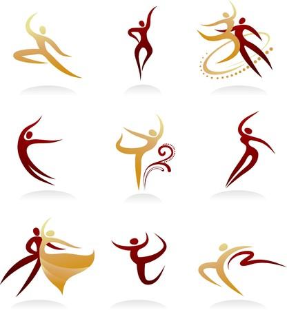 ballet hombres: Colecci�n de sillhuettes de baile elegante  Vectores