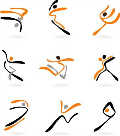 akrobatik: Sammlung von abstrakt dancing Symbole und logos