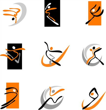 Collection of abstract dancing icons and logos