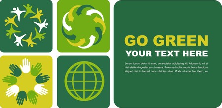 Ecological poster with green globe motive Stock Vector - 7441477