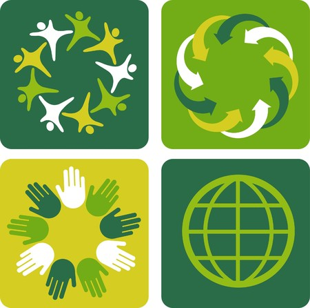 Four ecological template backgrounds with globe motive Stock Vector - 7441475