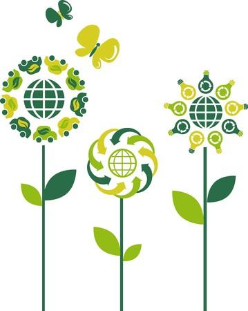 Eco flower symbols - green energy theme Stock Vector - 7441476