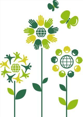 Eco flower symbols - human theme Stock Vector - 7441468