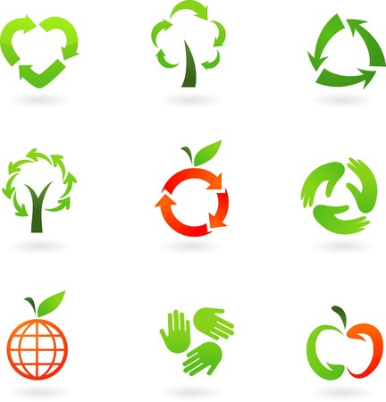 Collection  of original recycling icons and logos Stock Vector - 7441472
