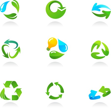 Collection  of glossy 3d recycling icons and logos